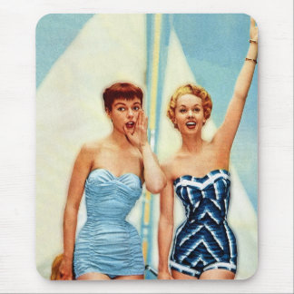 Vintage Retro Women 60s Swimwear Surfs Up! Mouse Pad