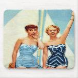 Vintage Retro Women 60s Swimwear Surfs Up! Mousepads
