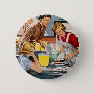 Vintage Retro Women Ad Let's Bake a Cake Button