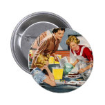 Vintage Retro Women Ad Let's Bake a Cake Pinback Buttons