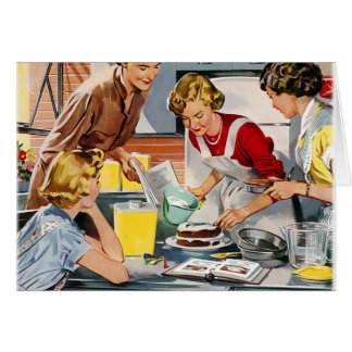 Vintage Retro Women Ad Let's Bake a Cake Greeting Card