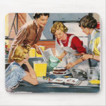 Vintage Retro Women Ad Let's Bake a Cake Mouse Pad