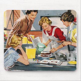 Vintage Retro Women Ad Let's Bake a Cake Mousepads