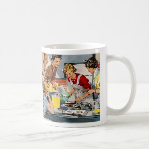 Vintage Retro Women Ad Let's Bake a Cake Coffee Mugs
