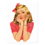 Vintage Retro Women Advertisement Girl 'Whatever' Postcard