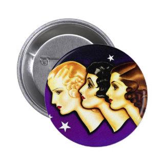 Vintage Retro Women Art Deco Three Women Pinback Button