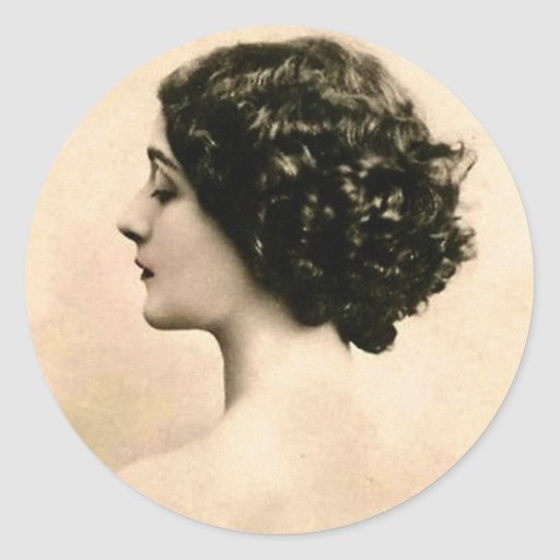 Vintage Retro Women Art Photography Young Woman Classic Round Sticker