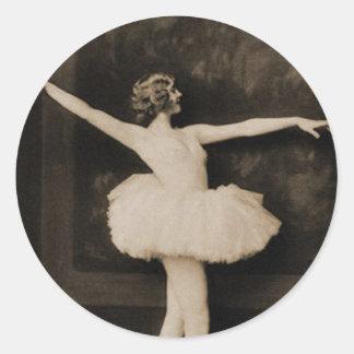 Vintage Retro Women Ballet Dancer Woman Classic Round Sticker