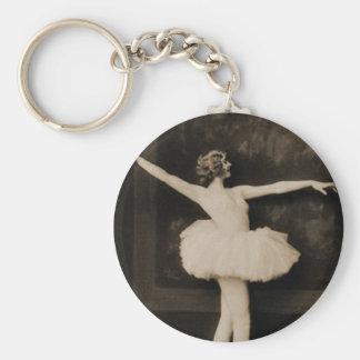 Vintage Retro Women Ballet Dancer Woman Keychain