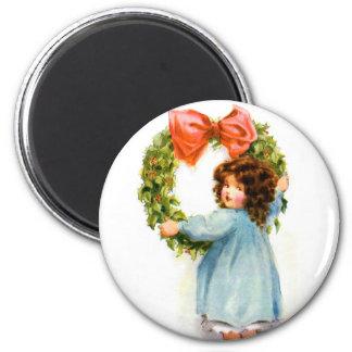 Vintage Retro Women Christmas Victorian Girl Magnet