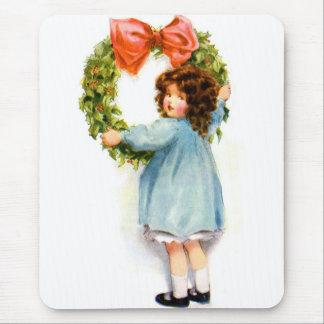 Vintage Retro Women Christmas Victorian Girl Mouse Pad