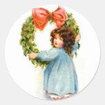 Vintage Retro Women Christmas Victorian Girl Round Sticker