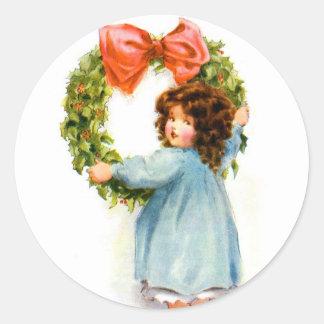Vintage Retro Women Christmas Victorian Girl Classic Round Sticker