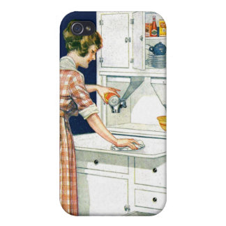 Vintage Retro Women Cleaning Stove With Cleanser Covers For iPhone 4