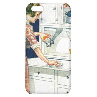 Vintage Retro Women Cleaning Stove With Cleanser iPhone 5C Case