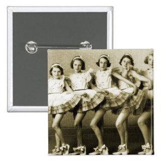 Vintage Retro Women Dancing Queens Girls 2 Inch Square Button