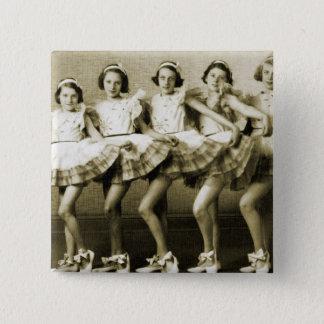 Vintage Retro Women Dancing Queens Girls Pinback Button
