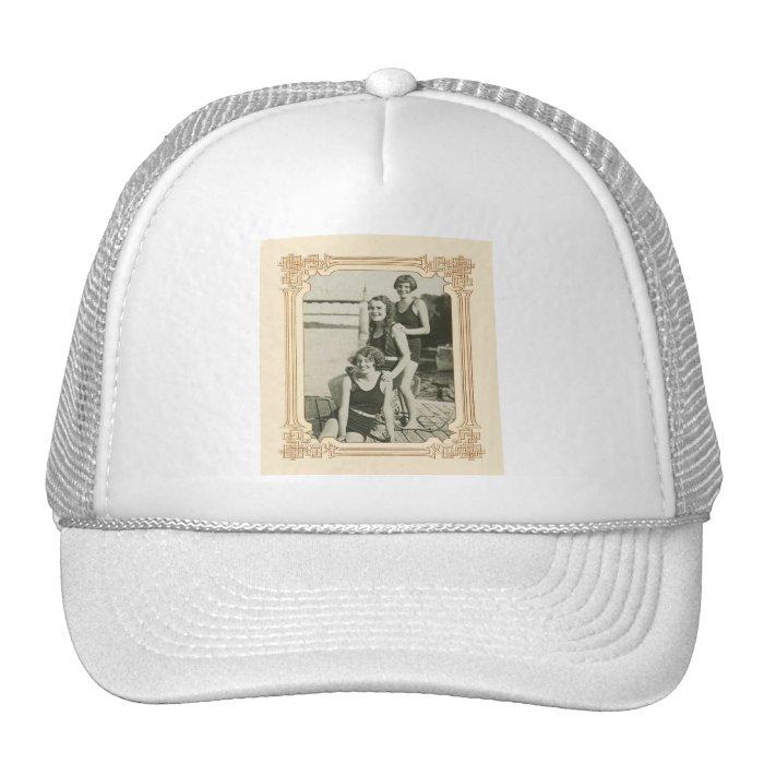 Vintage Retro Women Deco Women Swimmers Trucker Hat