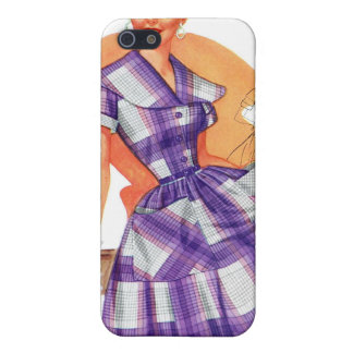 Vintage Retro Women Fashion Frock Plaid Ad Cover For iPhone SE/5/5s