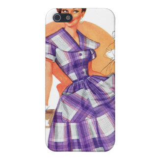 Vintage Retro Women Fashion Frock Plaid Ad iPhone SE/5/5s Cover