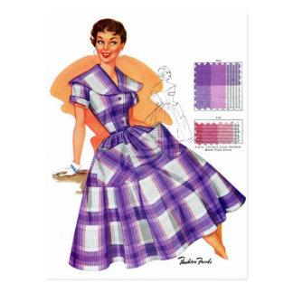 Vintage Retro Women Fashion Frock Plaid Ad Postcard