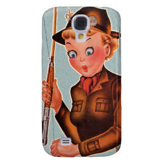 Vintage Retro Women Flying Fishing Woman Samsung Galaxy S4 Cover