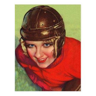 Vintage Retro Women Football Gridiron Girl Postcard