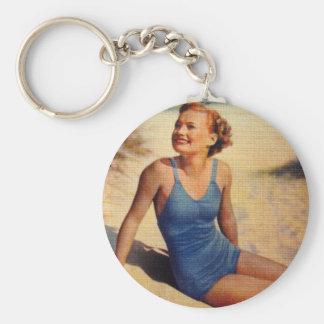 Vintage Retro Women Forties Swim Suit Beauty Basic Round Button Keychain
