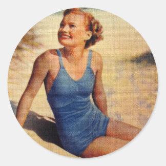 Vintage Retro Women Forties Swim Suit Beauty Classic Round Sticker