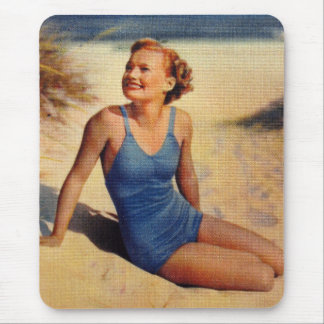 Vintage Retro Women Forties Swim Suit Beauty Mouse Pad