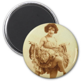 Vintage Retro Women French Can-Can Dancer Woman 2 Inch Round Magnet