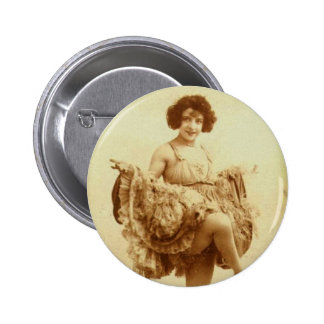 Vintage Retro Women French Can-Can Dancer Woman Button