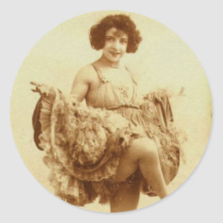 Vintage Retro Women French Can-Can Dancer Woman Classic Round Sticker