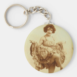 Vintage Retro Women French Can-Can Dancer Woman Keychain