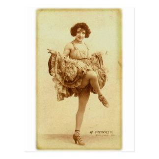 Vintage Retro Women French Can-Can Dancer Woman Postcard