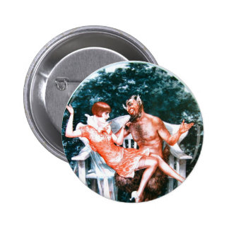 Vintage Retro Women French Devil and The Lady Button