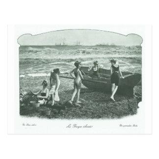 Vintage Retro Women French Victorian Woman Postcard