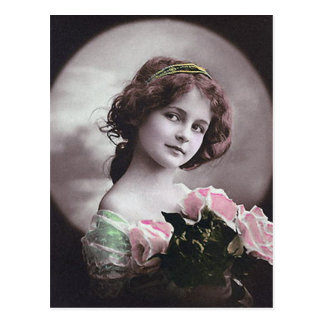 Vintage Retro Women French Victorian Woman Post Card