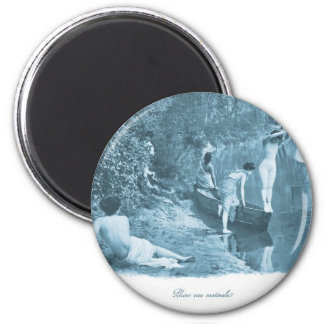 Vintage Retro Women French Victorian Woman Swim 2 Inch Round Magnet