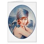Vintage Retro Women French Vie Parisienne Flapper Greeting Card