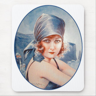 Vintage Retro Women French Vie Parisienne Flapper Mouse Pad