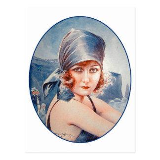 Vintage Retro Women French Vie Parisienne Flapper Postcard