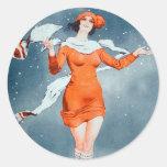Vintage Retro Women French Vie Parisienne Round Sticker