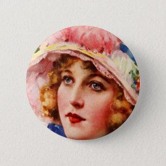 Vintage Retro Women Gibson Girl Illustration Button