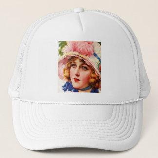 Vintage Retro Women Gibson Girl Illustration Trucker Hat
