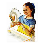 Vintage Retro Women Girl Doing the Dishes Post Cards