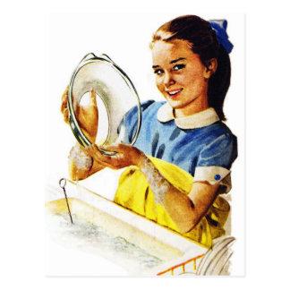 Vintage Retro Women Girl Doing the Dishes Postcard