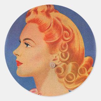 Vintage Retro Women Hair Curls Ad Woman Classic Round Sticker