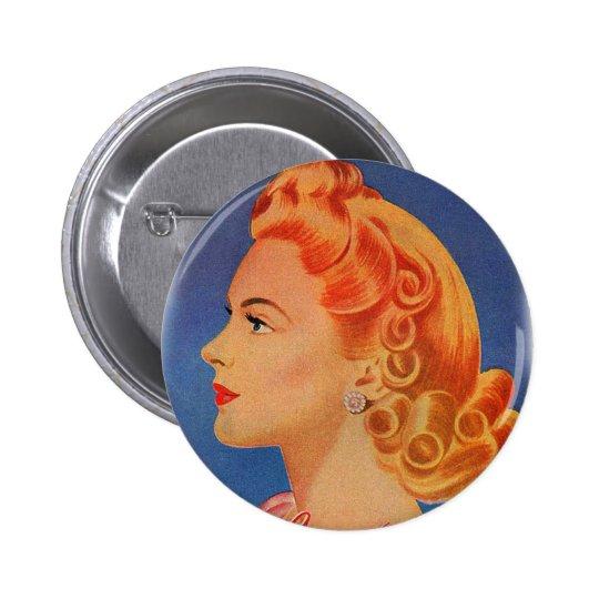 Vintage Retro Women Hair Curls Ad Woman Pinback Button