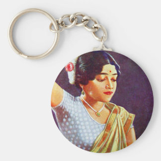 Vintage Retro Women India Indian Women Beauty Keychain